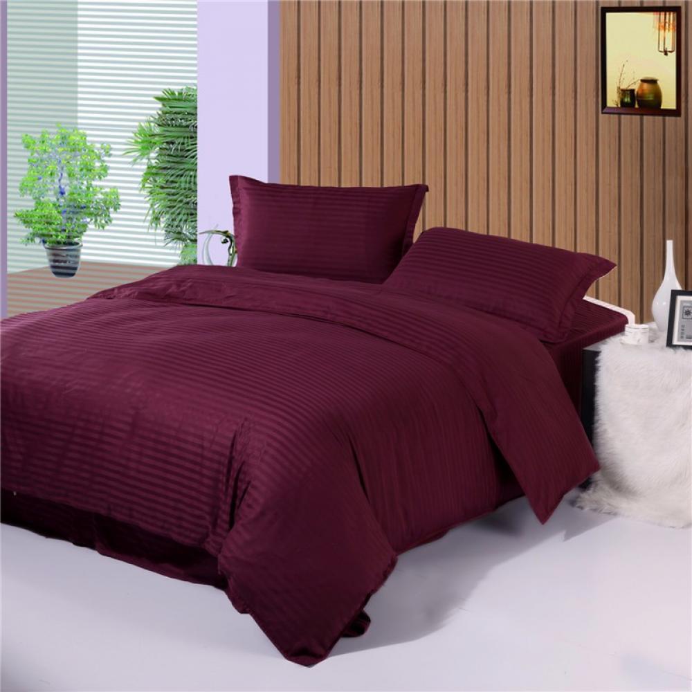 Постельное белье страйп сатин фиолетовый 140г